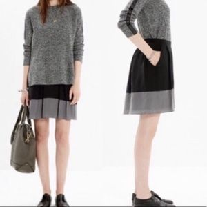 Madewell Premiere Skirt Colorblock high low black
